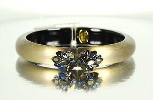 ALEXIS BITTAR Black Rhodium Plated Lucite Pyrite Crystal Hinged Bangle Bracelet