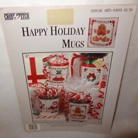Happy Holiday Mugs Cross Stitch Leaflet 83095 Leisure Arts 1993 Christmas Santa