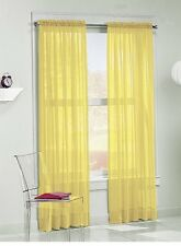 "Elegance (2) Panels Sheer Window Curtains Drapes Set 84"" Long Rod Pocket Solid"
