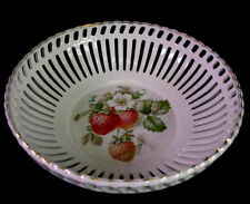 schöne Obstschale / Erdbeerschale - Rösler Keramik - Erdbeeren & Blumen