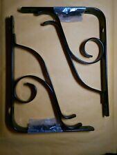 "NEW-Rubbermaid-Pair-of-Decorative-Shelf-Brackets  6"" x 8"", Vine, Black"