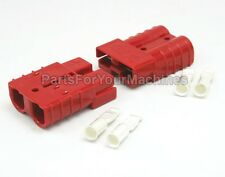 2 ANDERSON PLUGS w/ 8 GAUGE CONTACTS, SB50A, SMALL RED, TOWING, SALT TRUCKS