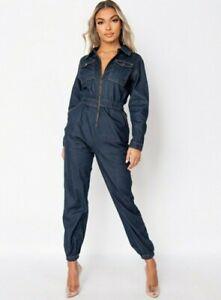 Women Denim Jeans Utility Jumpsuit Long Sleeve Loose Boiler Suit Romper Playsuit