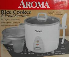 H01 Aroma 14 Cup Rice Cooker & Food Steamer, easy clean kitchen appliance White