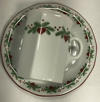 Porsgrund Norway Hearts and Pines Christmas Cup and Saucer
