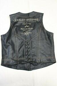 HARLEY DAVIDSON Womens Embroidered Legendary Leather Vest Extra Large 97109-06VW