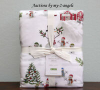 Pottery Barn SNOWMAN Cotton Flannel Cal. King Sheet Set Christmas Winter Organic