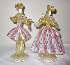 ABSOLUTELY GORGEOUS VINTAGE MURANO ART GLASS VENETIAN FIGURINES~MAN+LADY/WOMAN
