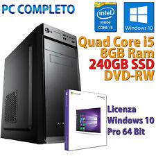 PC FISSO COMPUTER NUOVO ASSEMBLATO DESKTOP QUAD CORE i5 8GB SSD 240GB WINDOWS 10