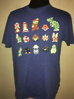 Super Mario Bros Large Cotton blue s/s tee 2014 Nintendo shirt Bowser Toad