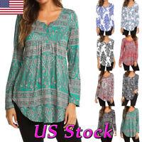 Women Boho Floral Print Tunic Top Long Sleeve T Shirt Ladies Retro Autumn Blouse