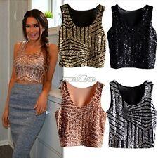 Women Sequins Sleeveless Crop Tops Tee Tank Vest Hot Fashion T-shirt Cami