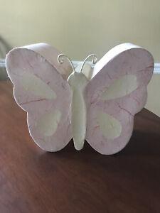 Pottery Barn Kids Butterfly Lamp Light Nursery Baby Infant Bedroom Pink Vintage