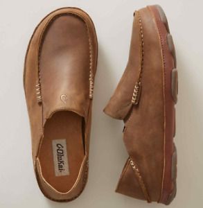 Olukai Moloa Ray/Toffee Leather Loafer Slip-On Clog Men's sizes 7-14 NEW