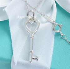 "AUTHENTIC TIFFANY & CO KEYS STERLING SILVER HEART KEY PENDANT 16"" NECKLACE"