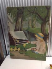 Antique ~ Canvas ~ Painting ~ Young Girl ~ Chickens ~ Farm ~ Country
