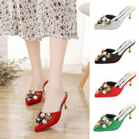 Women's Fashion Pointed Toe Floral Outdoor Slippers High Heels Wedding Shoes USA