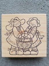 """Darcies 2 Bunnies Large Rubber Stamp Wood Mount Harvest Basket Vegetables 4x4"""""""