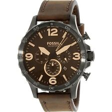 Fossil Mens Nate JR1487 Brown Leather Quartz Fashion Watch