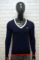 LACOSTE Maglione Blu Uomo Taglia 4 ( M ) Pullover Sweater Maglia Lana Cardigan