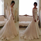 Custom Made Plus Size Dress Lace Long Sleeve Bridal White Mermaid Wedding Dress