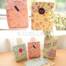 12 pcs Flowers Floral Paper Gift Bag Xmas Party Holiday Cookies Bag +Sticker New