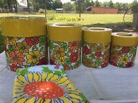 Vintage Flower Power Kitchen canister set. Made in Japan Royal Sealy