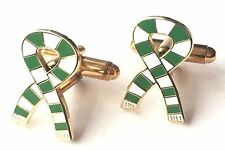 Green & White Scarf Crested Sports Cufflinks (N180) Gift Boxed
