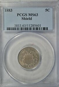 1883 Shield nickel, PCGS MS63
