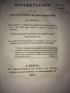 DISSERTATION sur Les Dispositions Et Les Maladies Héréditaires .1827.