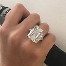 Engagement Cocktail Ring 925 Silver Party Gift* 27 Ct Big Emerald Cut Cz 3 Stone