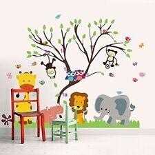 Walplus Adesivo da parete per cameretta dei Bambini motivo Animali e Albero