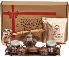16 Pc Turkish Greek Arabic Coffee Set w Copper Pot Cup Saucer Tray Bowl & Coffee