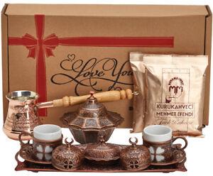 16 Pc Turkish Greek Arabic Coffee Set w Copper Pot Cup Saucer Tray Bowl & Coffee