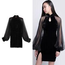 Gothic Bodycon Mini Dress Black Lantern Sleeve Qipao Short Dress Mesh Cheongsam