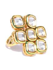 Indian Rectangular Studded Stone Kundan Fine Fashion Ring Adjustable Gold Plated