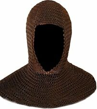 BLACK Metal Medieval Knight CHAINMAIL Chain Mail HOOD COIF Armor Super Strong!