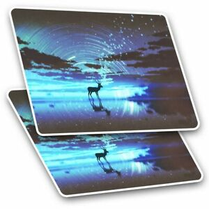 2 x Rectangle Stickers 7.5 cm - Magical Deer Night Sky Fantasy Cool Gift #14026
