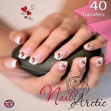 40 x Nail Art Water Transfers Stickers Wraps Decals Valentine Hearts Grou