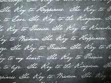 THE KEYS SCRIBE WRITING BLACK WHITE COTTON FABRIC BTHY