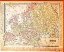 Beautiful Original 1899 Europe Large Color Map/11x14