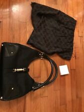 New GUCCI Hobo Leather/Canvas Shoulder Bag, Black-ser# 311 9143A w/ outer Bag