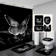 Black Butterfly Shower Curtain Bath Mat Toilet Cover Rug Bathroom Decor