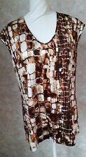 St. John silk brown/orange giraffe print long sleeveless top, size 6