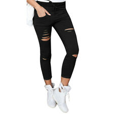 Women Skinny Ripped Long Pants High Waist Stretch Jeans Pants Pencil Trousers