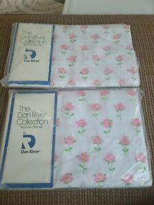 NEW VINTAGE FORTREL FOR DAN RIVER ROSE PARADE FLAT & FITTED DOUBLE SHEETS RARE