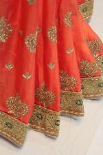 Bollywood Zari n Kundan Work Saree Satin Silk Indian Sari Wedding Party Dress