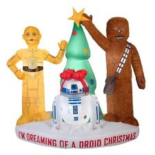 Airblown Inflatable Star Wars Droids and Chewbacca w/Tree Christmas Decoration