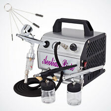 NEW 3 Airbrush Dual-Action Kit Air Compressor Hose Filter Holder Cleaning Brush