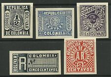 COLOMBIA-BOLIVAR. 1904. Gold Currency Stamps, Proof Set. Unused.